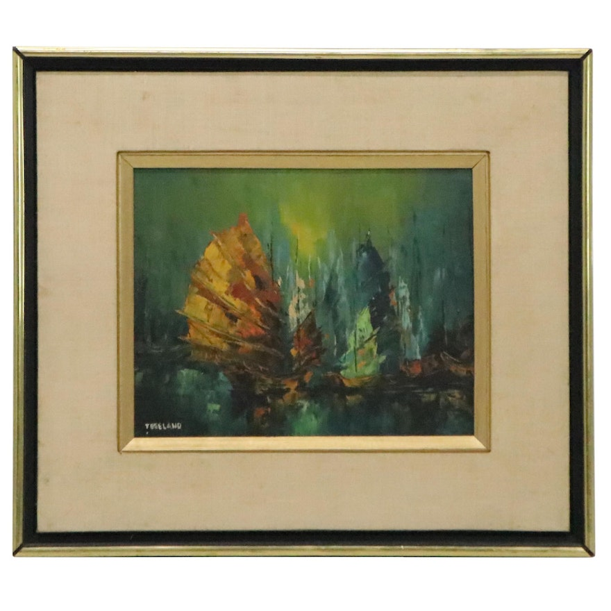 Freeland Abstract Oil Painting of Ships, Mid-20th Century