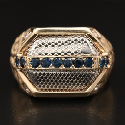 14K Sapphire and Diamond Ring with Mesh Detailing