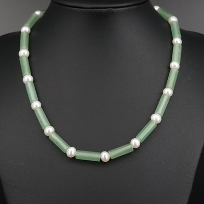 Quartz and Pearl Necklace with 18K Clasp