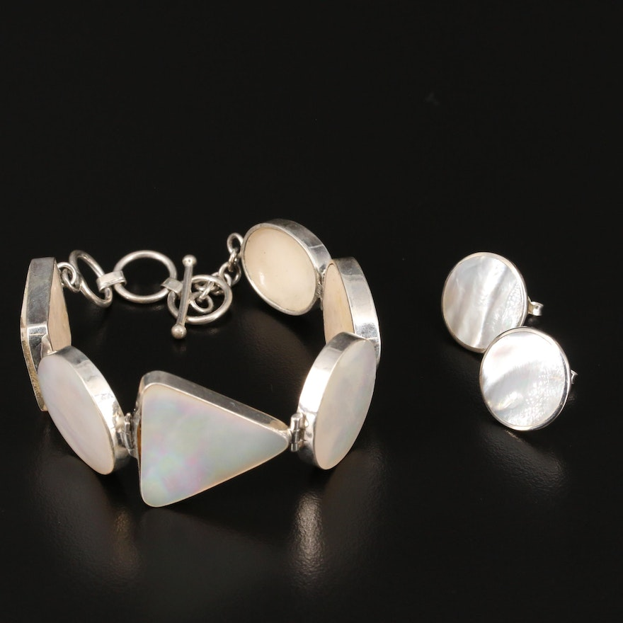 Sterling Silver Mother of Pearl Panel Link Bracelet and Button Earrings