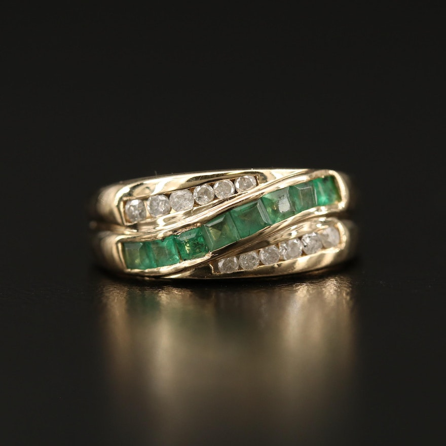 14K Emerald and Diamond Crossover Band