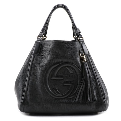 Gucci Soho Tassel Two-Way Bag in Black Pebbled Leather with Tassel