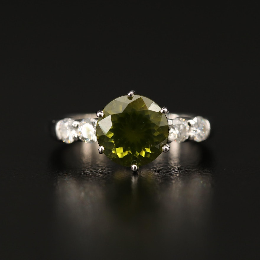 14K Peridot and Diamond Ring