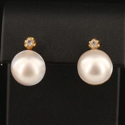 18K Mabé Pearl and White Topaz Earrings
