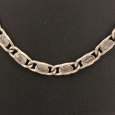 Sterling Silver Snail Link Chain Necklace