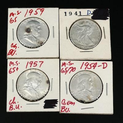 Four Vintage U.S. Silver Half Dollars