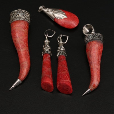 Sterling Silver Coral Pendants Featuring Horn and Teardrop Shapes