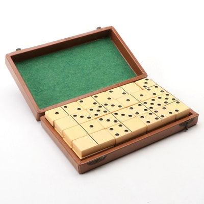 Set of Dominoes in Leather Bond Case
