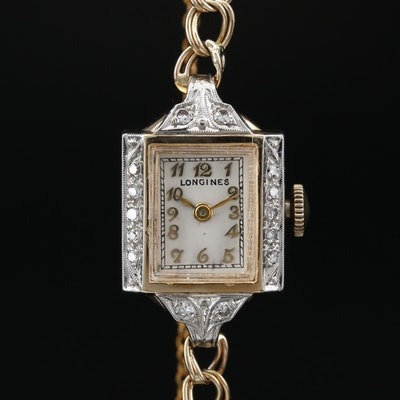 14 Karat Longines Diamond Stem Wind Wristwatch