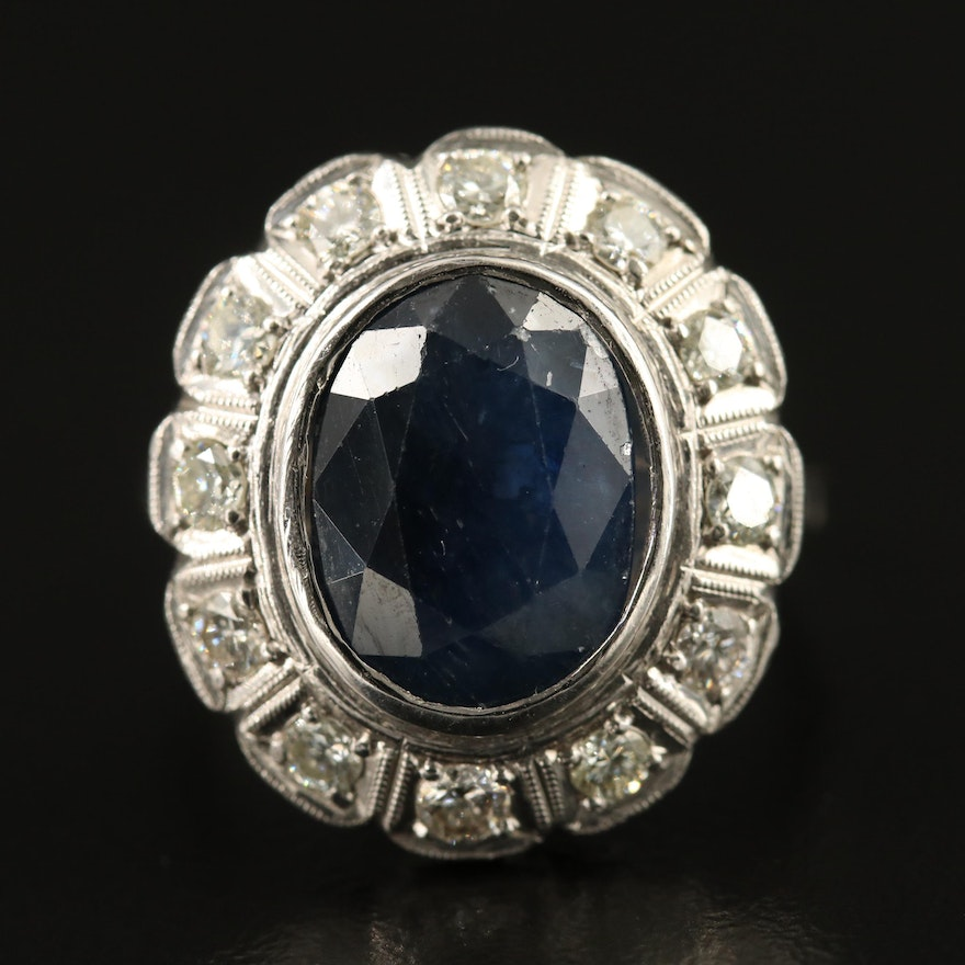 Vintage 18K 4.80 CTW Sapphire and Diamond Ring with Platinum Accent