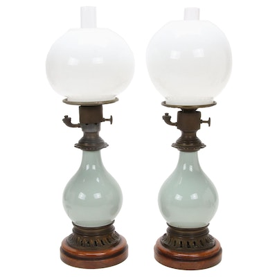 Pair of French Parlor Oil Lamps Converted to Electric, Late 1800s