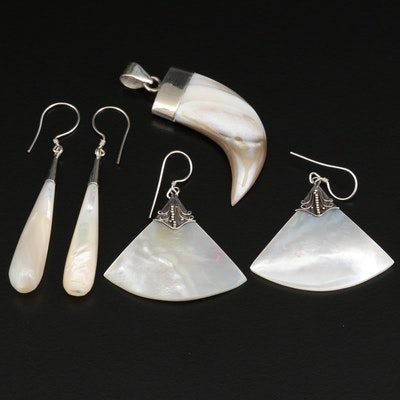 Selection of Sterling Earrings and Pendant with Shell and Mother of Pearl