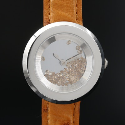 Andre Giroud Floating Glass Crystals Stainless Steel Quartz  Wristwatch