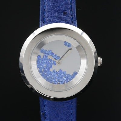 Andre Giroud Floating Blue Glass Crystals Stainless Steel Quartz Wristwatch