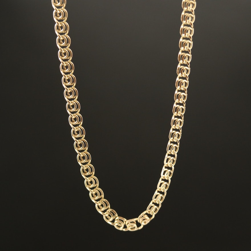 10K Fancy Link Chain Necklace with 14K Clasp