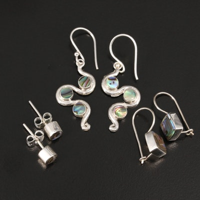 Sterling Silver Earring Selection Featuring Abalone and Resin Accents