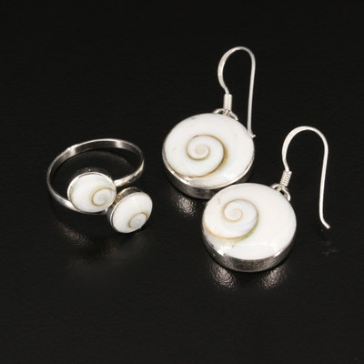 Sterling Silver Shell Ring and Earrings Set