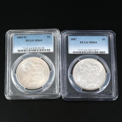 PCGS Graded MS64 1885-O and 1887 Morgan Silver Dollars