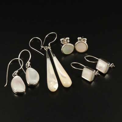 Assorted Sterling Silver Mother of Pearl Earrings Featuring Various Shapes