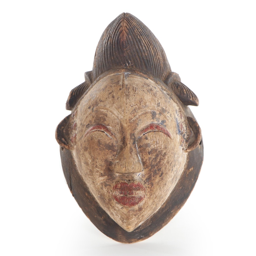 Punu Polychrome Carved Wood Mask, Central Africa