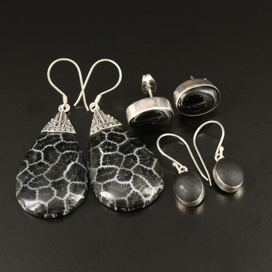 Assortment of Black Onyx and Glass Earrings