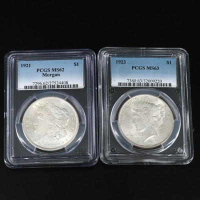 PCGS Graded Mint State 1921 Morgan and 1923 Peace Silver Dollars