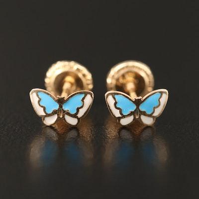 14K Enamel Butterfly Stud Earrings