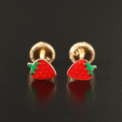 14K Enamel Strawberry Stud Earrings