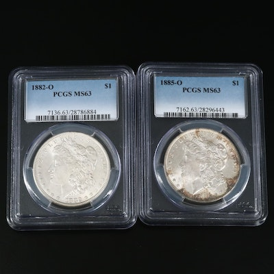 PCGS Graded MS63 1882-O and 1885-O Morgan Silver Dollars
