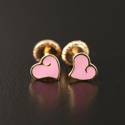 14K Enamel Heart Stud Earrings
