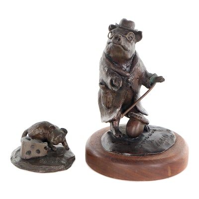 "Bronze Animal Sculptures ""Carissa the Mouse"" and ""Blind Pig - Acorn"""