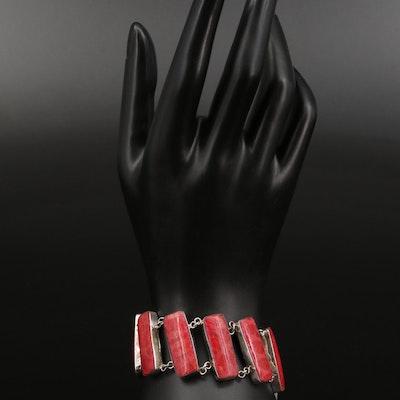 900 Silver Coral Link Bracelet with Diagonal Design