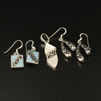 Sterling Mother of Pearl Pendant and Earrings with Openwork Earrings