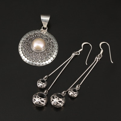 Sterling Silver Pearl Pendant and Dangle Earrings