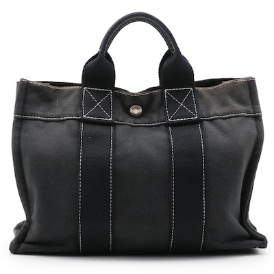 Hermès Fourre Tout MM Tote Bag in Black Cotton Canvas with Contrast Stitching