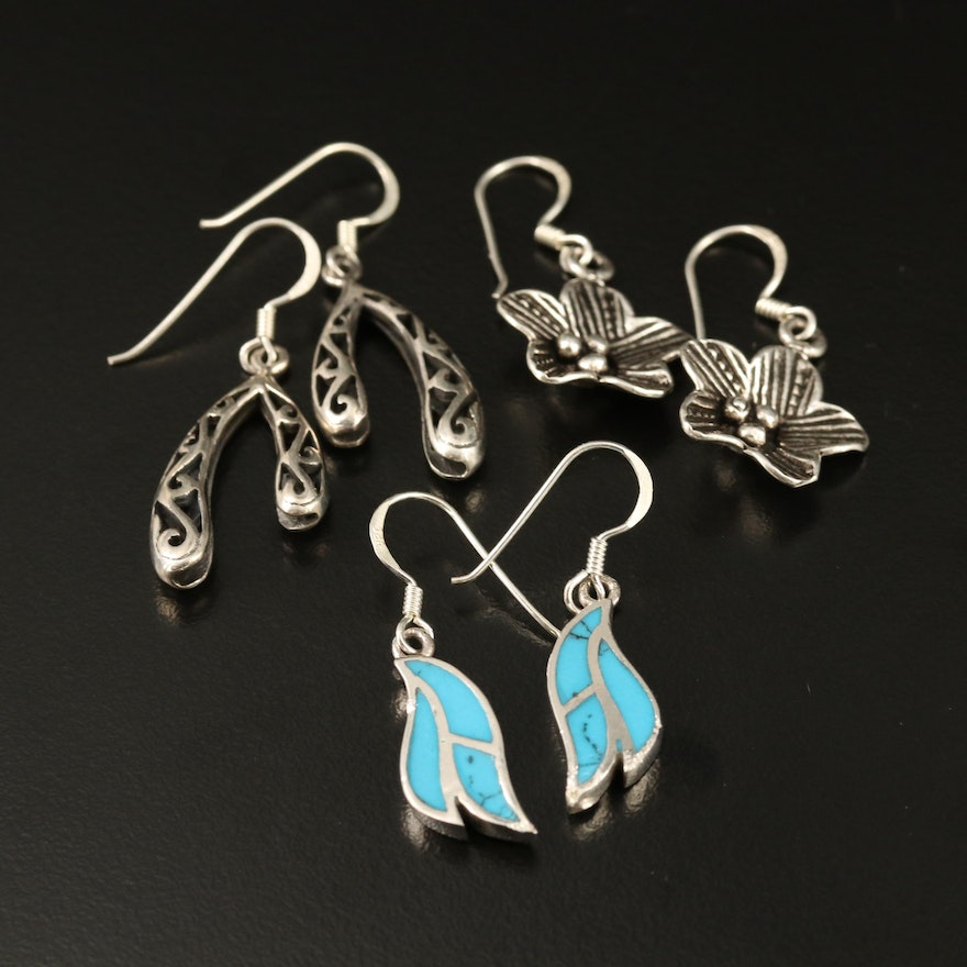 Selection of Sterling Silver Drop Earrings with Faux Turquoise