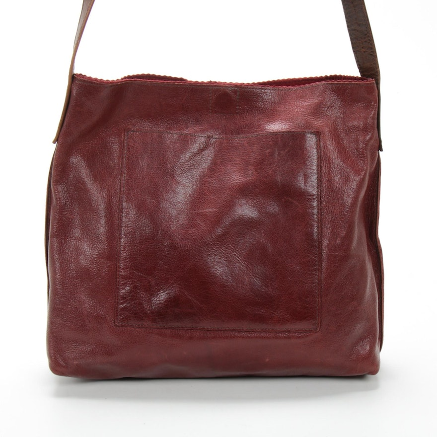 B-May Shoulder Bag in Distressed Burgundy Red Leather