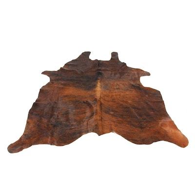5'8 x 6'5 Natural Dark Brindle Cowhide Area Rug