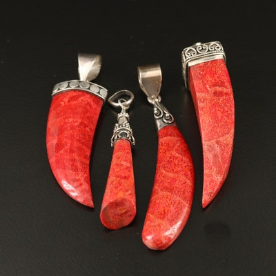 Assortment of Sterling Silver Coral Pendants