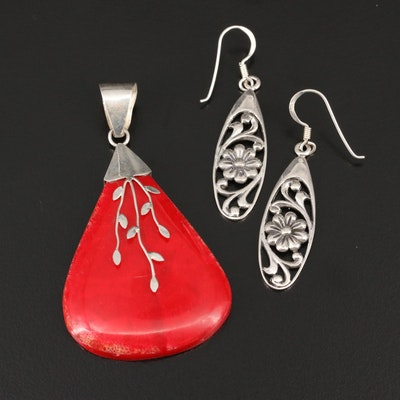 Sterling Silver Coral Pendant and Dangle Earrings with Foliate Motif