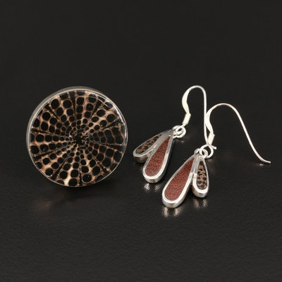 Sterling Silver Coral and Shell Adjustable Ring and Earrings