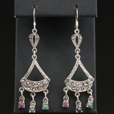 Sterling Ruby, Emerald, Sapphire and Marcasite Chandelier Earrings