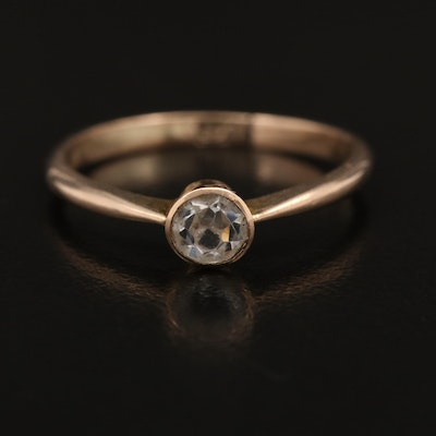 9K Bezel Set Faceted Glass Solitaire Ring