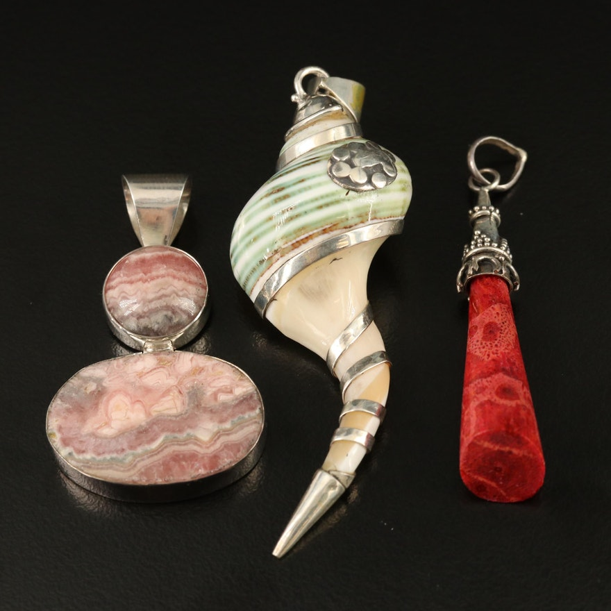 Sterling Silver Rhodochrosite, Shell and Coral Pendants