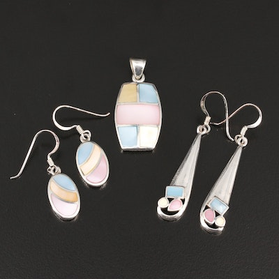 Selection of Sterling Earrings and Pendant Featuring Mother of Pearl