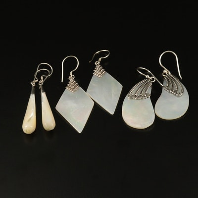Selection of Sterling Silver and Mother of Pearl Drop Earrings
