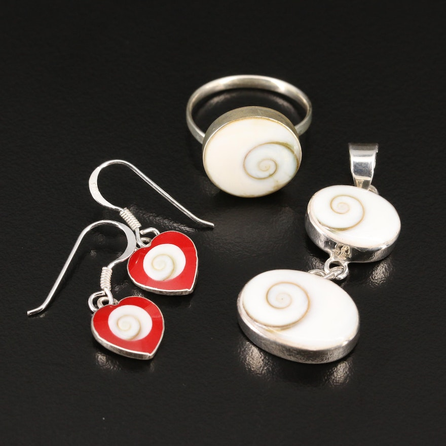 Selection of Sterling Jewelry Featuring Shell