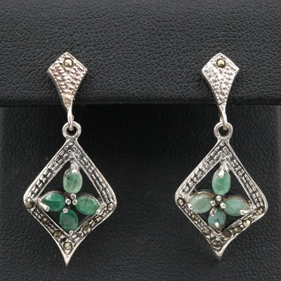 Sterling Silver Beryl and Marcasite Dangle Earrings