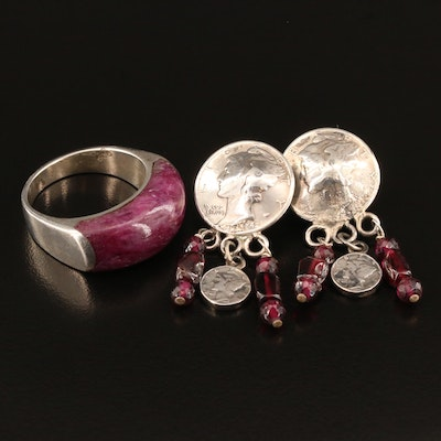 Sterling Silver Garnet and Corundum Earrings and Ring