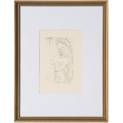 """Pablo Picasso Lithograph from """"Le Goût du Bonheur,"""" 1970"""